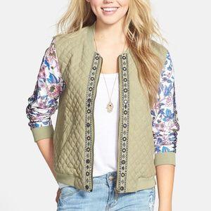 Billabong Quilted Front Floral Sleeve Jacket / M